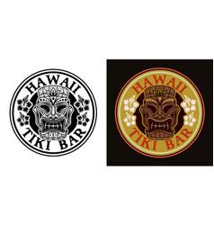 tiki hawaiian tribal wooden mask two styles black vector image