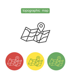 Topographic map outline icons set vector