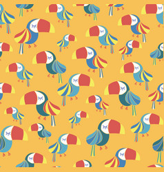 toucan bird blue red white yellow seamless pattern vector image