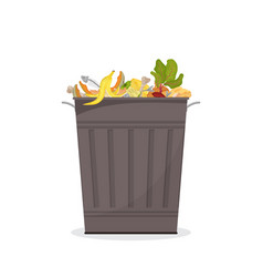 Trash bin filled with food waste for organic vector