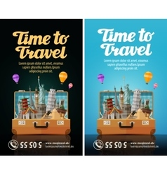 travel journey trip to world open suitcase with vector image