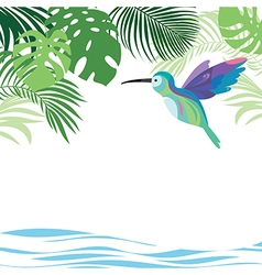Tropical Leaves and colibri vector image