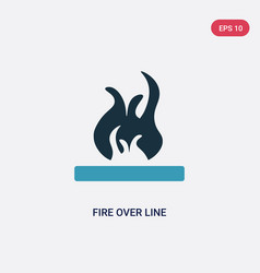 Two color fire over line icon from shapes concept vector