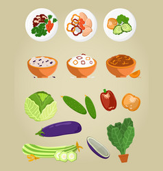 vegetarian food collection vector image