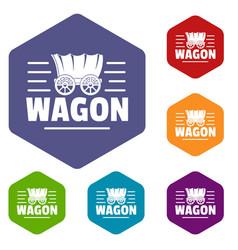 Wagon icons hexahedron vector