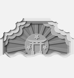 white paper cut japanese gate landmark background vector image