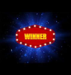winner background retro light banner vector image