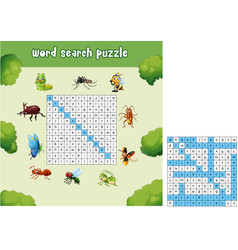 Word search puzzle about bugs animals vector