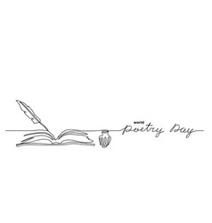 world poetry day minimalist sketch vector image