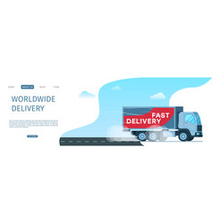 worldwide delivery storage cargo truck on road vector image