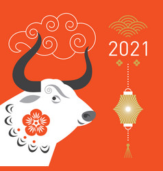 year ox greeting card vector image