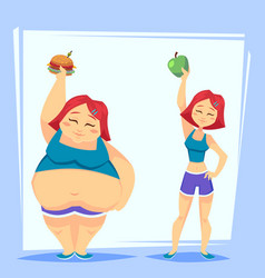 young woman with apple and fast food before and vector image