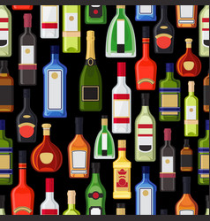 alcohol bottles colorful pattern vector image vector image