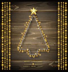 christmas tree made of christmas lights glowing vector image