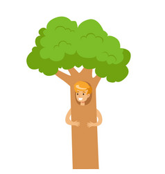 cute little boy dressed as a green tree vector image