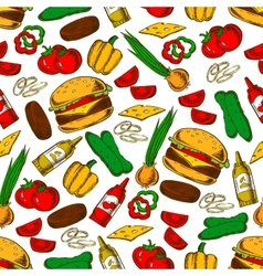 Fast food burger with ingredients seamless pattern vector image