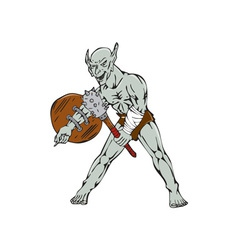 Orc Warrior Hold Club Shield Cartoon vector image