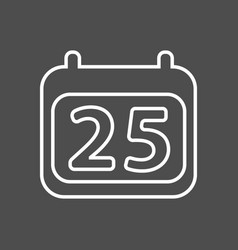 calendar icon simple calendar with date 25 vector image vector image