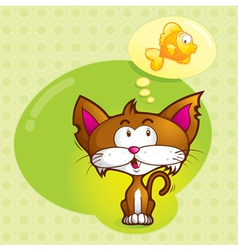 cat and fish vector image vector image