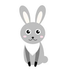 cute bunny icon flat stylerabbit isolated on vector image