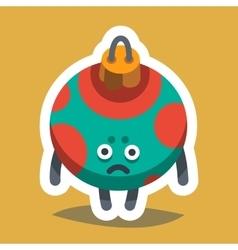Emoticon icon happy new year tree toy vector