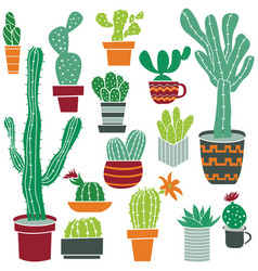 flat collection of cute potted cactuses vector image vector image