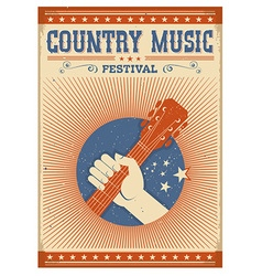 Music festival background with guitar and hand vector image