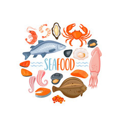 set of seafod icons in cartoon style vector image vector image