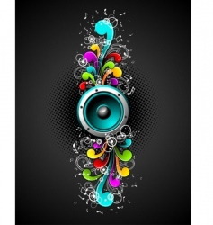 speakers with floral vector image