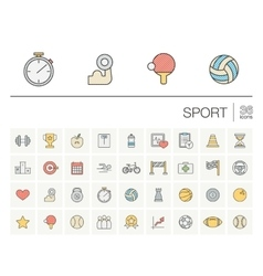 Sport and fitness color icons vector image