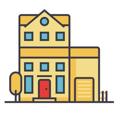 apartment building flat line concept vector image vector image