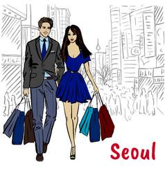 couple at myeongdong vector image vector image