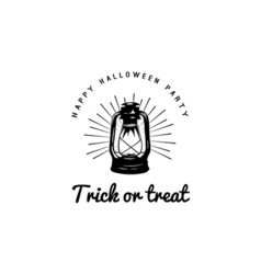 happy halloween trick or treat night party lable vector image vector image