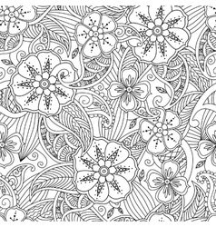 Seamless pattern with flowers and leafs in doodle vector image vector image