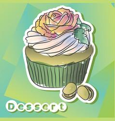 sticker with pistachio cake vector image