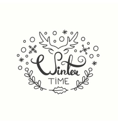Winter Time Card Winter Holiday Typography vector image vector image