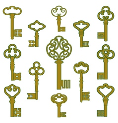 Antique bronze keys with patina decor vector image