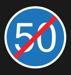 end minimum speed sign 50 flat icon vector image