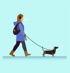 girl with dog walking vector image