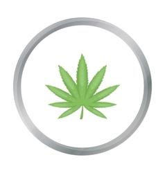 Marijuana leaf icon in cartoon style isolated on vector image
