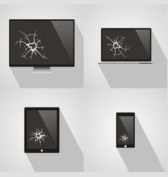 set of broken screen of smart phone computer vector image vector image