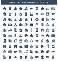100 residential icons vector image