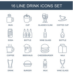 16 drink icons vector