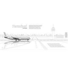 3d glossy white high detail airplane on airport vector image