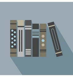 Abstract row of books icons set with long shadow vector