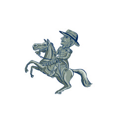 american cavalry officer riding horse prancing vector image