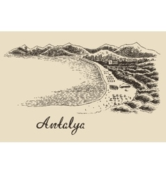 Antalya skyline vintage engraved hand drawn vector