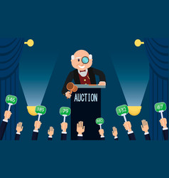 auctioneer and bidding flat vector image