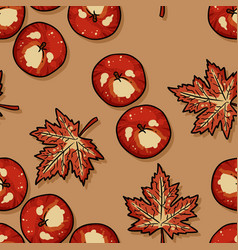Autumn apples and maple leaves seamless pattern vector