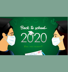 back to school 2020 students in medical mask vector image